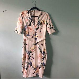 Women's Elegance Print V-Neck Bodycon Dress